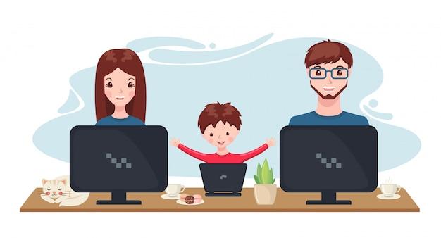 Glückliche familie, die zu hause mit computer im karikaturstil arbeitet und studiert.