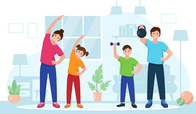 Glückliche familie, die zu hause sportübungen macht. fitness-training online oder gesundes lifestyle-konzept.