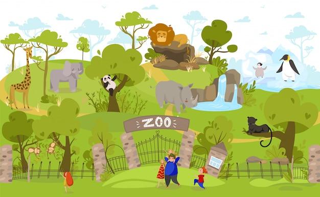 Glückliche familie, die zum zoo geht, zeichentrickfiguren der exotischen tiere, leute illustration