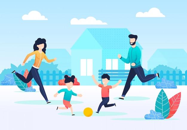 Glückliche familie, die zusammen ball auf hinterhof spielt