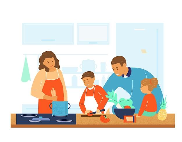 Glückliche familie, die zusammen in der küche kocht. eltern bringen kindern das kochen bei.
