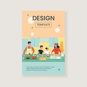 Glückliche familie, die zusammen isolierte flache illustration kocht