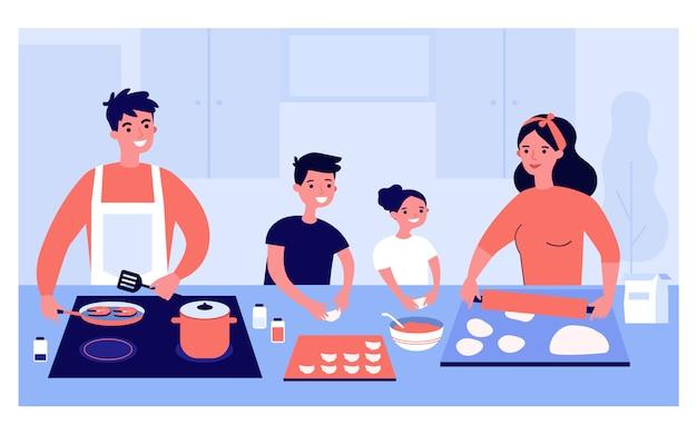Glückliche familie, die zusammen kocht