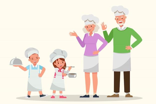 Glückliche familie, die zusammen kocht.