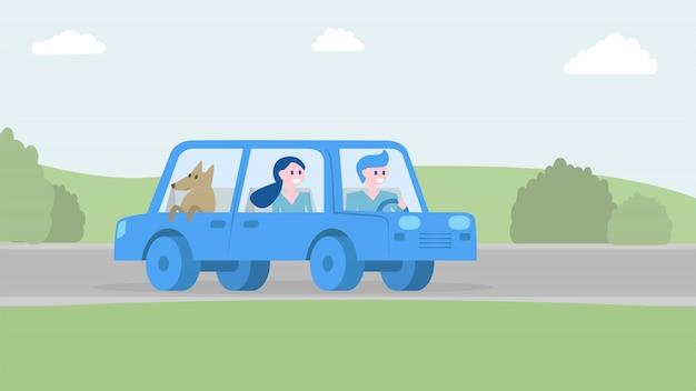 Glückliche familie, die zusammen mit dem auto reist.