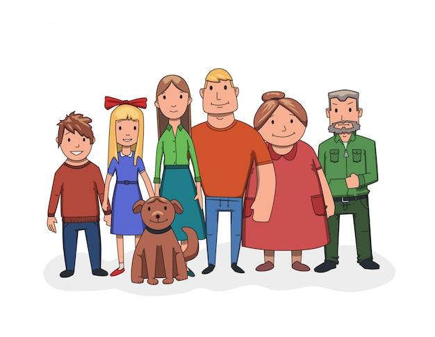 Glückliche familie, die zusammen steht, vorderansicht. großvater, großmutter, vater, mutter, kinder und hund. illustration. auf weißem hintergrund.