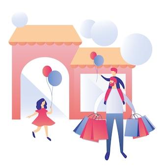 Glückliche familie einkaufszentrum werbung