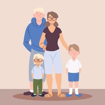 Glückliche familie, eltern mit kindern, die hände illustrationsdesign halten