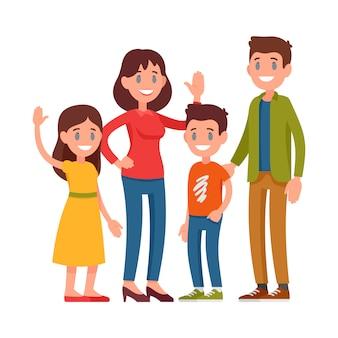 Glückliche familie. eltern stehen mit kindern. mutter, vater, junge und mädchen im schulpflichtigen alter stehen zusammen.