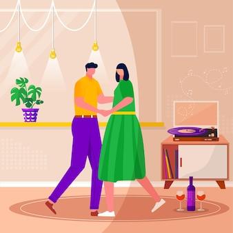 Glückliche familie entspannen, tanzen, musik mit schallplatte hören. mann und frau, paare, die zeit zusammen verbringen. mann und frau genießen home-entertainment. flache innenillustration des vektors