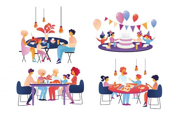 Glückliche familie feiern und sparetime-satz lokalisiert.