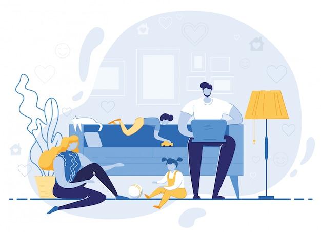 Glückliche familie freizeit am abend oder am wochenende