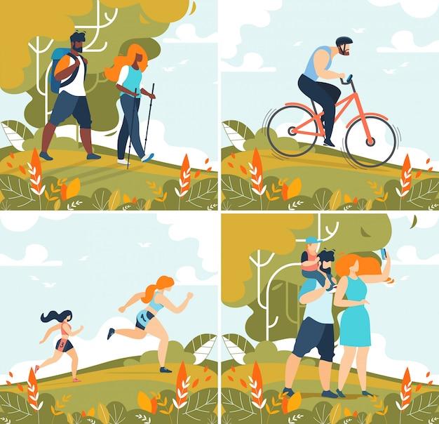 Glückliche familie, freunde und lonely people illustration set