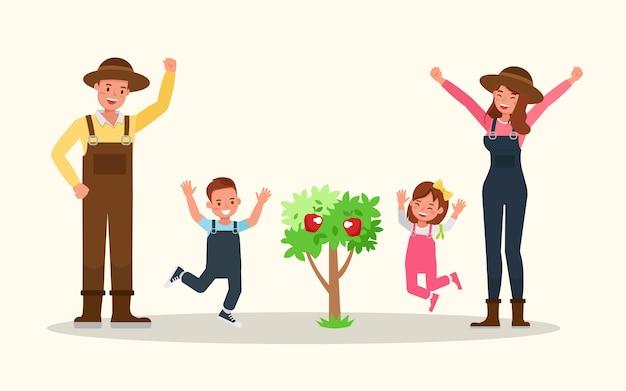 Glückliche familie gartenarbeit zusammen.
