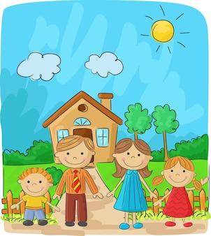 Glückliche familie gegen eine landschaft und das haus