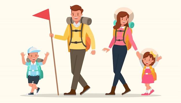 Glückliche familie gehen zum camping.