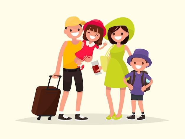 Glückliche familie geht auf die sommerferienillustration