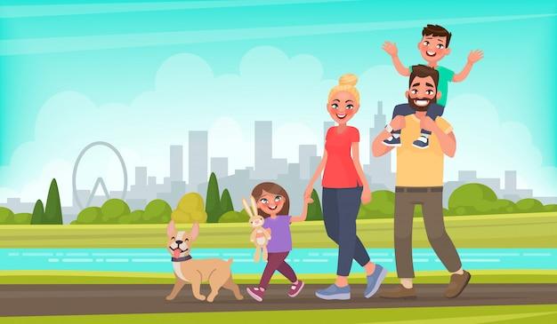 Glückliche familie geht um den stadtpark. vater, mutter, sohn und tochter zusammen im freien. vektorabbildung in der karikaturart