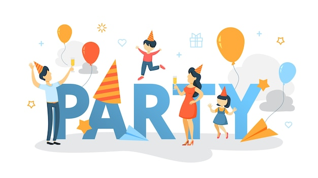 Glückliche familie haben eine party