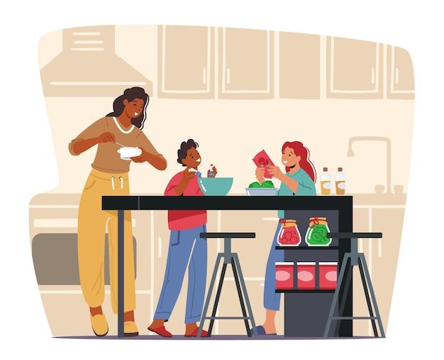 Glückliche familie hafer home kitchen. mutter unterrichtet kinder, tochter und sohn kochen gerichte, kinder helfen den eltern am wochenende