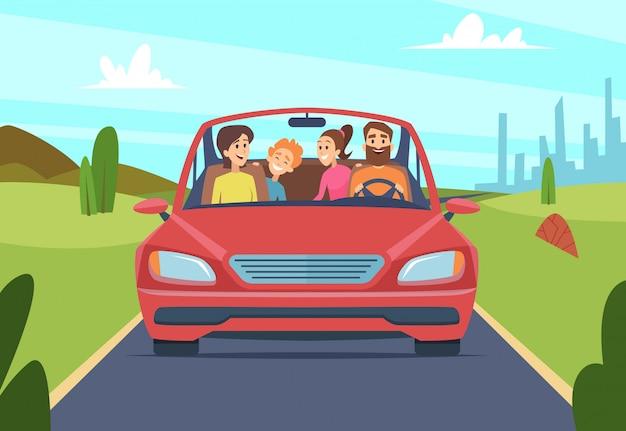 Glückliche familie im auto. menschen vater mutter kinder reisende in automobil vektor vorderansicht