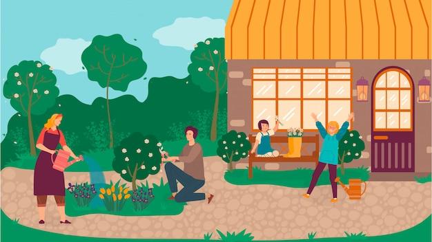 Glückliche familie im garten, der blumen pflanzt und baumkarikaturillustration von mutter, vater und tochter nahe häuschen gaderning beschneidet.