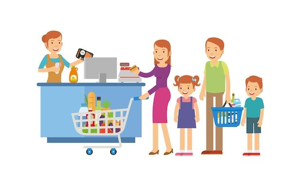 Glückliche familie im ladenkassierer