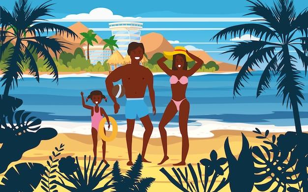 Glückliche familie im sommerurlaub strand. vater, mutter und tochter