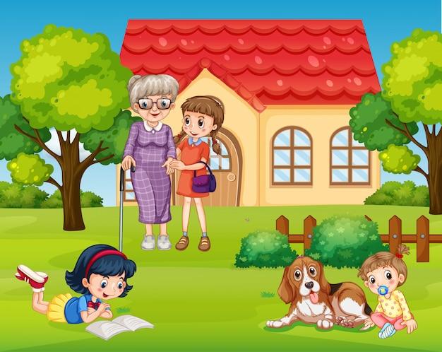 Glückliche familie im vorgarten