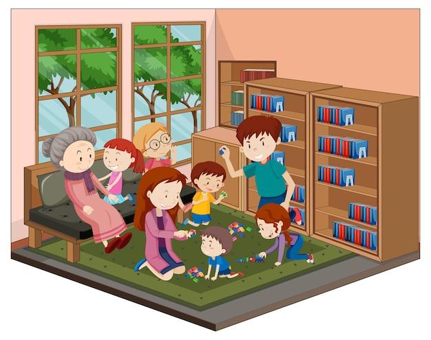 Glückliche familie im wohnzimmer mit möbeln