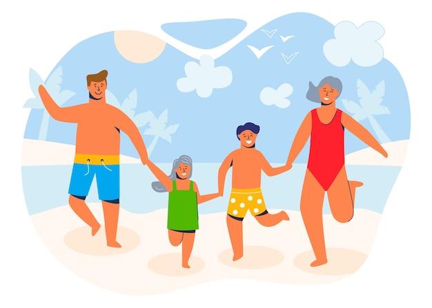 Glückliche familie in den sommerferien, die an einem sandigen ufer zum strand gehen und sich am meer oder am meer ausruhen. eltern und kinder zeichentrickfiguren.