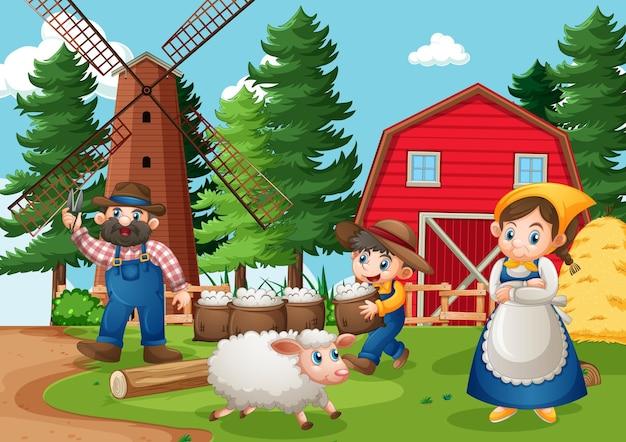 Glückliche familie in der bauernhofszene im karikaturstil
