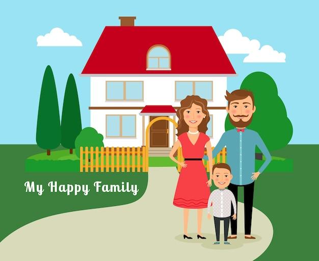 Glückliche familie in der nähe von haus. vater, mutter und sohn und haus mit rotem dach. vektorillustration