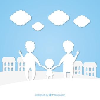 Glückliche familie in der papierkunstart