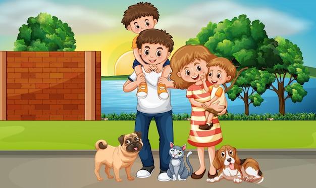 Glückliche familie in der straßenszenenillustration
