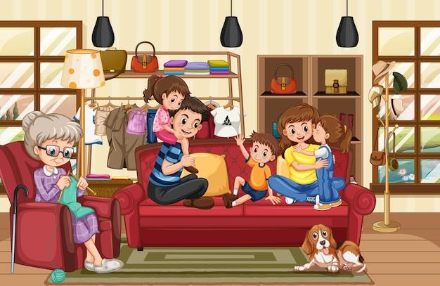 Glückliche familie in der wohnzimmerszene