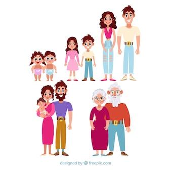 Glückliche familie in verschiedenen lebensphasen mit flachem design