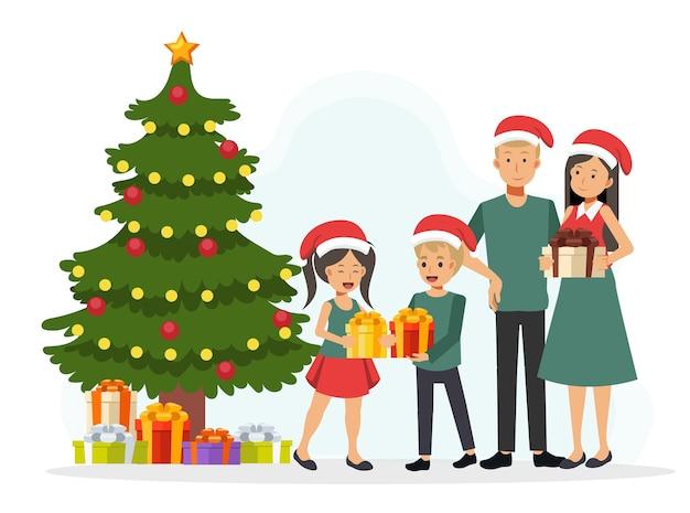 Glückliche familie in weihnachtsmützen feiern nahe weihnachtsbaum. illustration eines flachen zeichentrickfigurenentwurfs.