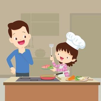 Glückliche familie mit dem lokking tochtervater, die in der küchenvektorkarikaturillustration kocht