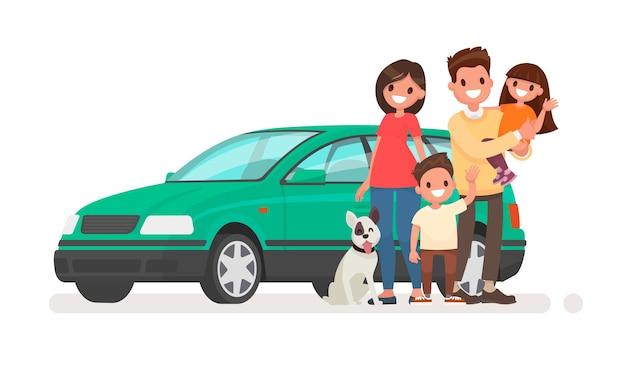 Glückliche familie mit einem auto auf einem weißen hintergrund