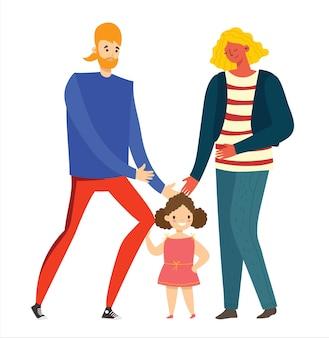 Glückliche familie mit einem kind, isoliert auf weißem hintergrund im flachen stil