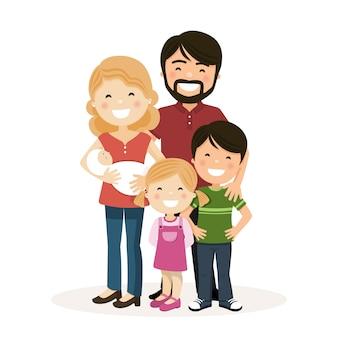 Glückliche familie mit eltern, kindern und neugeborenen
