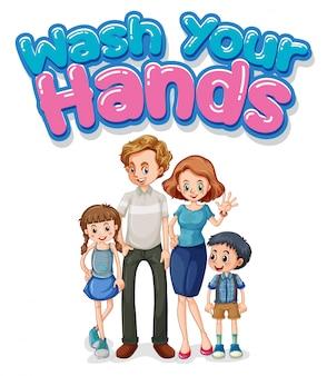Glückliche familie mit handwaschschild
