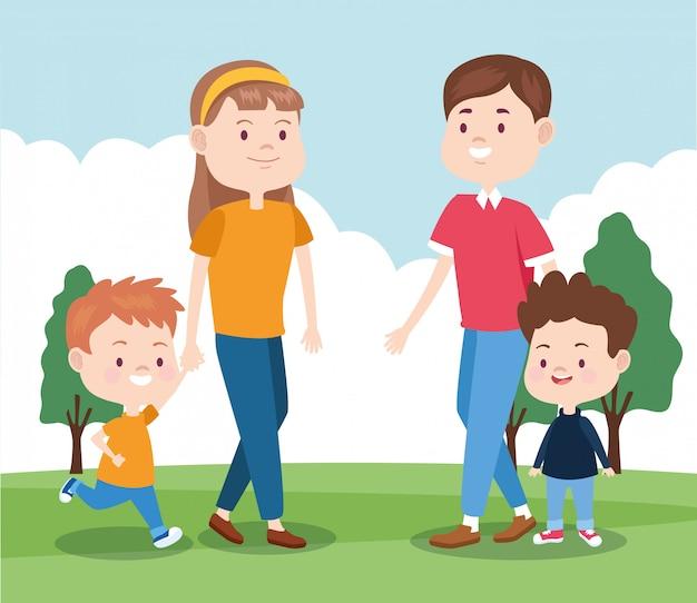 Glückliche familie mit ihren jungen im park