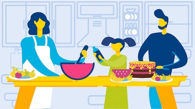 Glückliche familie mit kind beim küchenraumkochen