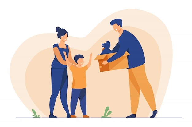 Glückliche familie mit kind, das haustier adoptiert
