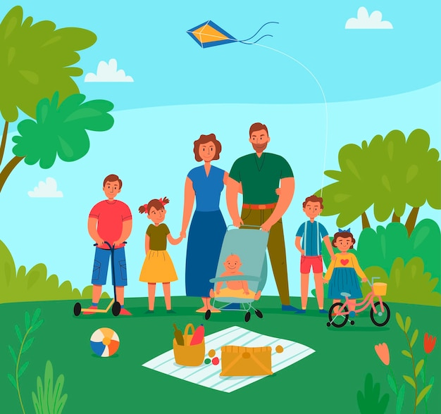 Glückliche familie mit kindern im urlaub, die picknick in der parkwohnung haben