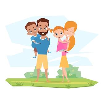 Glückliche familie mit kindern mit behinderungen umarmen