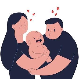 Glückliche familie mit kleinkindvektor-karikaturillustration lokalisiert auf einem weißen raum.