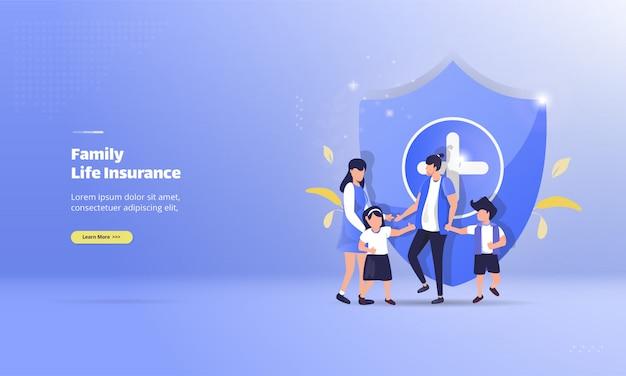 Glückliche familie mit lebensversicherungskonzept